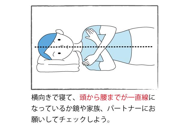横向き寝で真っ直ぐになっているかチェックする画像